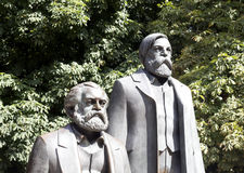 Karl Marx and Friedrich Engels. Detail of the monument to Karl Marx and Friedrich Engels. Berlin. Germany Royalty Free Stock Image