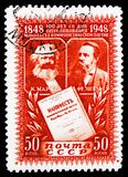 Karl Marx, Friedrich Engels, 100th anniversary of The Communist Manifesto serie, circa 1948. MOSCOW, RUSSIA - FEBRUARY 10, 2019: A stamp printed in USSR (Russia royalty free stock image