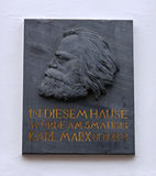 Karl Marx house plaque royalty free stock images