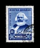 Karl Marx, líder famoso do político, autor principal do livro, 145th aniversário do nascimento, Mongólia, cerca de 1968, Imagem de Stock