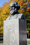Karl Marx's bust in autumn. Kaliningrad, Russia Royalty Free Stock Photo