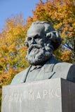 Karl Marx's bust in  autumn. Kaliningrad, Russia Stock Image