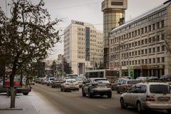 Karl Marx Street em Krasnoyarsk Imagem de Stock Royalty Free