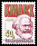 Karl Marx 1818-1883, Zdenek Nejedly and Karl Marx Anniversaries serie, circa 1978. MOSCOW, RUSSIA - FEBRUARY 22, 2019: A stamp printed in Czechoslovakia shows stock images