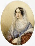 Karl (Pavlovic) Brjullov (1799–1852): Portrait of a Woman / Naisen muotokuva / Porträtt av en kvinna Stock Photos