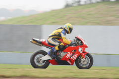 Karl Roe and Bulldog. Karl Roe was riding on his bulldog Honda CBR 1000.  Karl Roe get qualified by position 11 to enter the race 1 of ZIC superbike race Royalty Free Stock Images