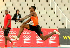 Karl Taillepierre of France. In action during Triple Jump Event of Barcelona Athletics meeting at the Olympic Stadium on July 22, 2011 in Barcelona, Spain Stock Photo