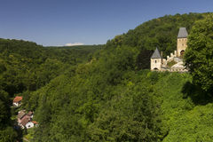 Karlštejn Castle structures and the surrounding nature Royalty Free Stock Images