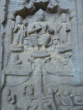 Karla Caves Chaityagriha, Sanctum Sanctorum, Budha Sculpture flanked by other dieties in Front Veran Stock Photo