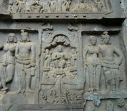 Karla Caves Chaityagriha, Sanctum Sanctorum, Budha Sculpture flanked by other dieties in Front Veran. The single Rock Cut Architecture Buddhist Karla Caves Stock Image