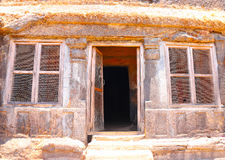 Karla caves on mountain in india. Ancient caves and ruins india Stock Photography