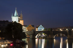 Karlov Bridge, Prague. Night look on nabarezhny the Vltava Rivers and Karlov Bridge in Prague royalty free stock image