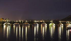 Karlov Bridge Prague in dark Stock Photography
