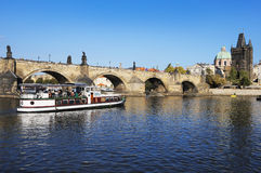 Karlov Bridge. River Vltava and city of Prague. Royalty Free Stock Photo