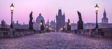 Karlov bridge. In twilights  in Prague. Czech Stock Image