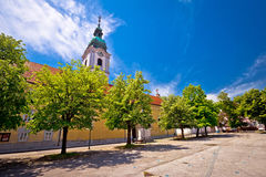 Karlovac central square church and park. Town in Croatia stock photo