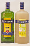 Karlovarska Becherovka bottles against white Stock Photography