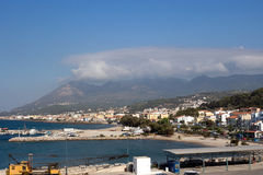 Karlovasi harbor panorama, Samos - North Aegean islands Greece. Karlovasi Harbor is a commercial harbor on the NW side of the island of Samos royalty free stock photos