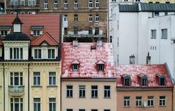 Karlovy varía casas Fotografía de archivo