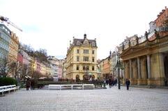 Karlovy varía el cuadrado Foto de archivo libre de regalías