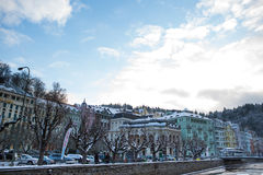 Karlovy varía en Noche Vieja Imagen de archivo libre de regalías
