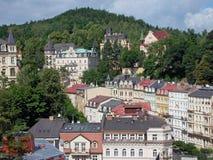 Karlovy vari?ërt, de stadsmening stock afbeelding