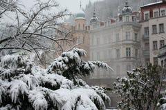 Karlovy varia. La nebbia immagine stock