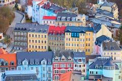 Karlovy varia a opinião aérea do panorama, República Checa Imagens de Stock