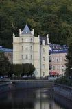 Karlovy-varieer, 28 Augustus: De historische Bouw in Karlovy varieert in Tsjechische Republiek Royalty-vrije Stock Fotografie