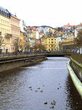 Karlovy varieert riviermening stock afbeelding