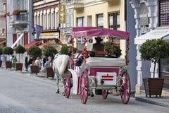 Karlovy varieert, Tsjechische Republiek - de Stad onderzoekt met Paardvervoer Stock Afbeeldingen