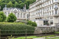 Karlovy varieert, vroeger - Carlsbad stock afbeelding