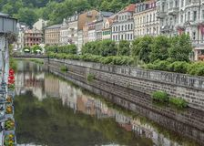 Karlovy varieert, vroeger - Carlsbad royalty-vrije stock afbeelding