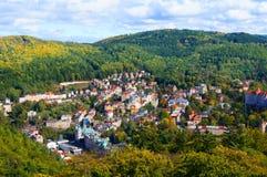Karlovy varierar (Karlsbad) panorama Fotografering för Bildbyråer