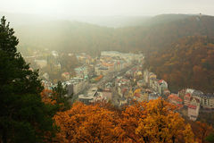 Karlovy Vary. View of historical watering - place Karlovy Vary in Czech republic in month November Stock Images