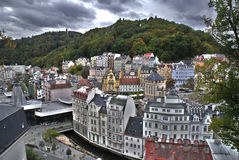 Karlovy Vary. Famous Czech Spa Karlovy Vary in the Autumn time. HDR stock photos