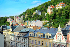 Karlovy Vary. Buildings in the historical centre of Karlovy Vary, Czech Republic stock image