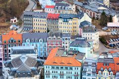 Karlovy Vary aerial panorama view, Czech Republic Stock Photography