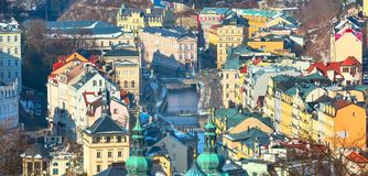 Karlovy Vary aerial panorama view, Czech Republic Royalty Free Stock Images