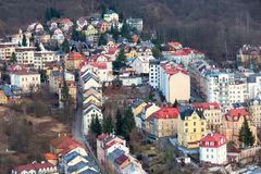 Karlovy Vary aerial panorama view, Czech Republic Royalty Free Stock Photo
