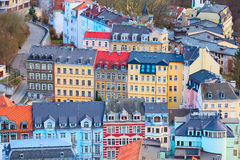 Karlovy Vary aerial panorama view, Czech Republic. Karlovy Vary aerial panoramic famous spa town view, Czech Republic stock images