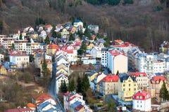 Karlovy Vary aerial panorama view, Czech Republic Royalty Free Stock Photos