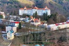 Karlovy Vary aerial panorama view, Czech Republic Stock Photo