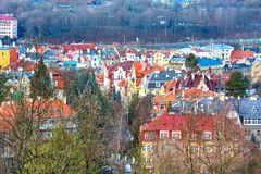 Karlovy Vary aerial panorama view, Czech Republic Royalty Free Stock Image