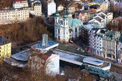 Karlovy Vary aerial panorama view, Czech Republic Stock Photos