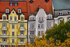 Karlovy Vary architecture old buildings. View on the colorful buildings in a small and old town Karlovy Vary in Czech Republic, October 2017 stock photography