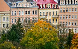 Karlovy Vary architecture old buildings. View on the colorful buildings in a small and old town Karlovy Vary in Czech Republic, October 2017 stock photo