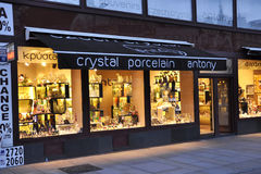 Karlovy-Vary,August 28:Crystal porcelain Shop downtown in Karlovy Vary in Czech Republic Royalty Free Stock Photo