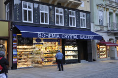 Karlovy-Vary,August 28:Crystal Shop entrance at dusk in Karlovy Vary in Czech Republic royalty free stock image