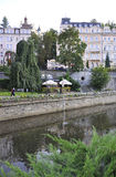 Karlovy-Vary,August 28:Downtown Street at dusk in Karlovy Vary in Czech Republic stock photo